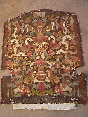 2 Gorgeous Antique 19Th C  French Normandie Tapestry Armourial Seat Backs
