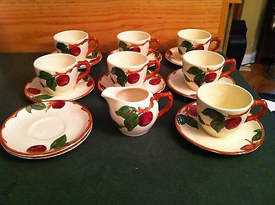 Franciscan USA China APPLE - Set of 7 Cup & Saucers, Creamer + extra saucers