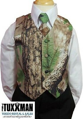 New Boy's Camouflage Tuxedo Vest & Tie Formal Wedding Kids Camo Toddler