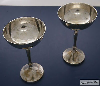Unique Vintage E.P.N.S. India Silver Plated Wine Cups (2) (#995)