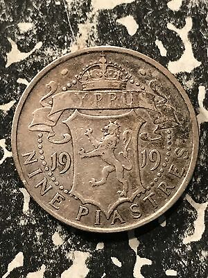 1919 Cyprus 9 Piastres Lot#5139 Silver! Low Mintage!