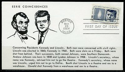 United States  1964 Memorial John F. Kennedy Eerie Coincidences With Lincoln Fdc