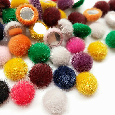 10/50/100pcs Faux Fur Fabric Covered Button Flatback Flower Center Craft