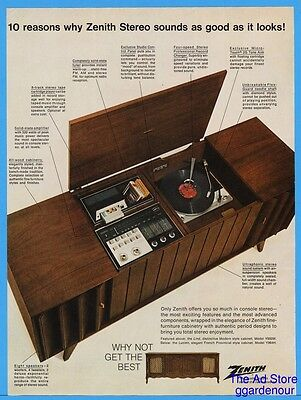1967 Zenith Console Stereo Record Player 8 Track Tape Turntable Radio Modern Ad