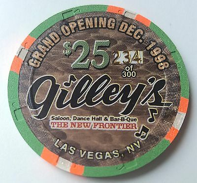 $25 Las Vegas The New Frontier Gilley's Grand Opening #234 Casino Chip - UNC