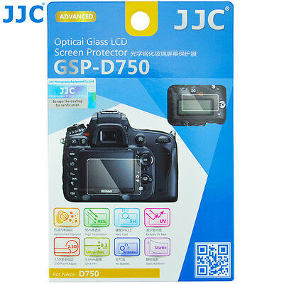 JJC 0.3mm HD Optical Tempered Glass LCD Monitor Screen Protector for Nikon D750