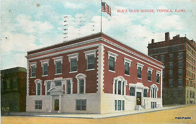 1910 TOPEKA KANSAS Elk's Club House postcard 642 Flag