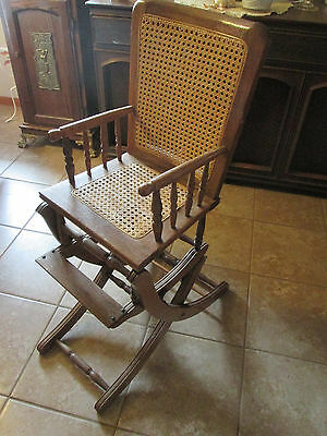 Vintage Child's  Highchair, Rocker Combination with Cane Back / Seat