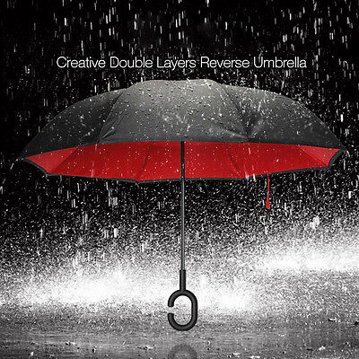 Upside Down Inverted Waterproof Big Double C-Handle Layer Reverse Umbrella AU