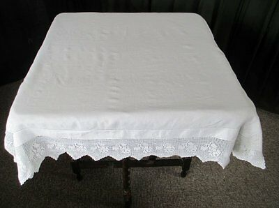 ANTIQUE TABLECLOTH - IRISH LINEN with HAND CROCHET EDGE