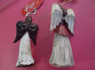 Lot Of 3 Angel Figurines One Is A Photo Clip Holder One Is An Ornament New
