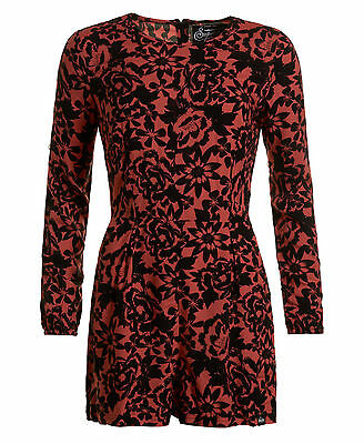 New Womens Superdry Gathered Bell Sleeve Playsuit Floral Coral