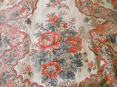 Antique French Floral Garland Basket Linen Fabric ~ Coral Blue ~ 18thc pattern