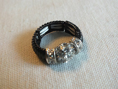 "Beautiful Cocktail Ring Silver Tone Stretch Rhinestones Black Enamel 3/8"" NICE"