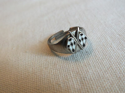 "UNIQUE Cocktail Ring Silver Tone Racing Flags Adjustable Vintage 1/2"" Wide CUTE"