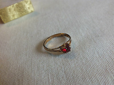 "Beautiful Cocktail Ring Gold Tone Ruby Rhinestone Adjusts 3/8"" Wide CUTE"