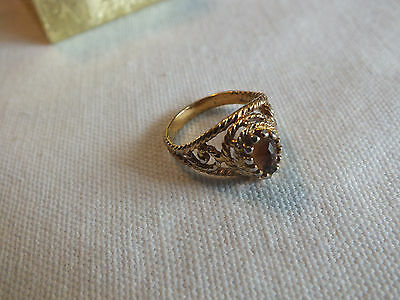 "Beautiful Cocktail Ring Gold Tone Filigree Amber Rhinestone Size 6 x 1/2"" Wide"