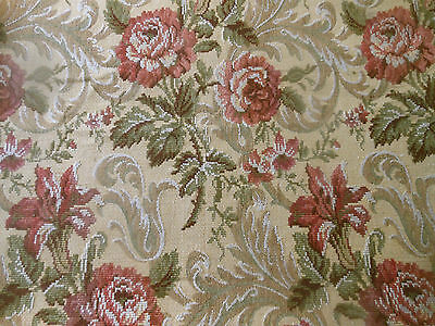 Vintage French Roses Lily Scroll Tapestry Fabric ~Tawny Coral Ochre Olive Green