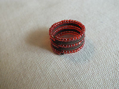 "Beautiful Beaded Wrap Ring Red Brown Size 8 by 1/2"" Wide UNIQUE"