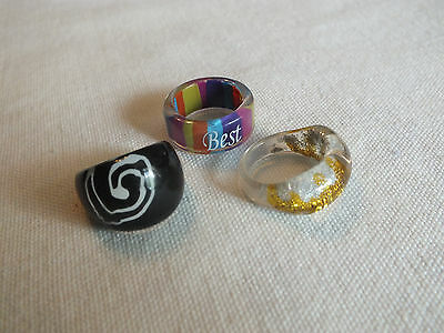 "Beautiful Plastic Ring Set 3 Size 5 1/2-6 1/2 by 3/8-5/8"" Wide Colorful Variety"