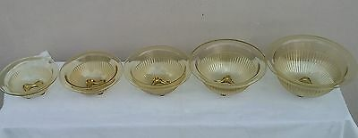 Depression Amber Ribbed Mxiing Bowls-5 Bowl Set-Federal Glass