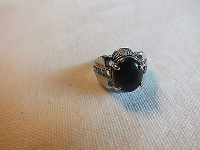 "Beautiful Cocktail Ring Silver Tone Black Cabochon Size 8 by 3/4"" Wide NICE"