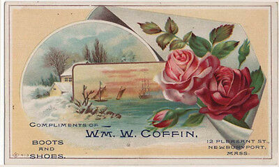 Newburyport, Massachusetts, WM. W. COFFIN, Boots and Shoes Trade Card