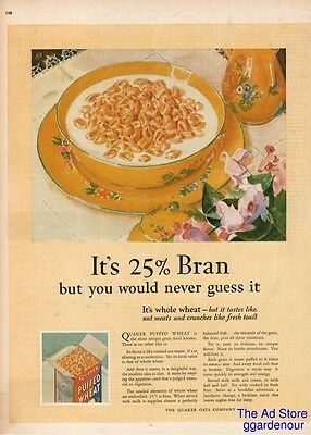1926 Quaker Oats Puffed Wheat Breakfast Cereal Vintage Kitchen Decor Print Ad