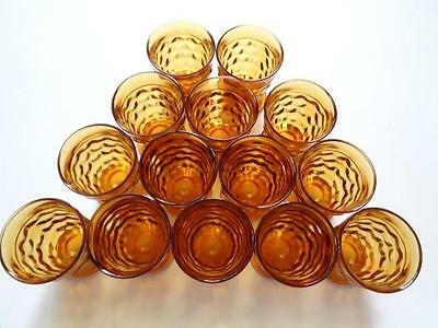 """Vintage 14 Piece Set of Amber Indiana Glass Whitehall Cubist  4 1/4"""" Glasses"""