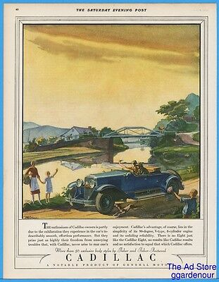 1928 Cadillac Ad Fisher Fleetwood TM Cleland Art Riverside Drive Blue Car & Dog