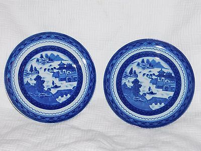 Pair Mottahedeh Charleston Blue Canton Bread And Butter Plates