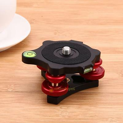 """3/8"""" Screw Leveling Base Tripod Head Plate + 3 Adjustment Dials for Camera NEW"""