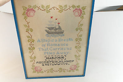 "Rare Antique Folk Art Schoolgirl Sampler 1800'S ""A SHIP IS A BREATH"" ESTATE FIND"