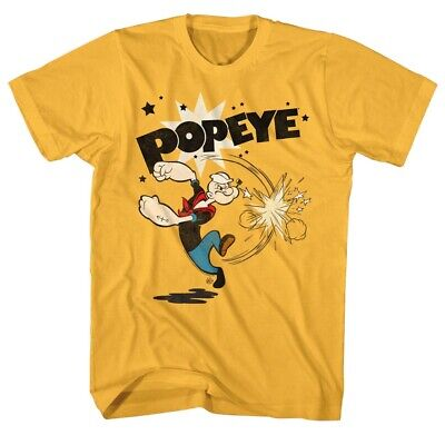 f54a8eb339 Popeye Sailor Man Comic Spinach Punching Energy Poster Funny Cartoon T-Shirt  Tee