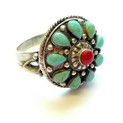 (cz53) Vintage Navajo Signed GLP Turquoise & Coral Ring (size 8)