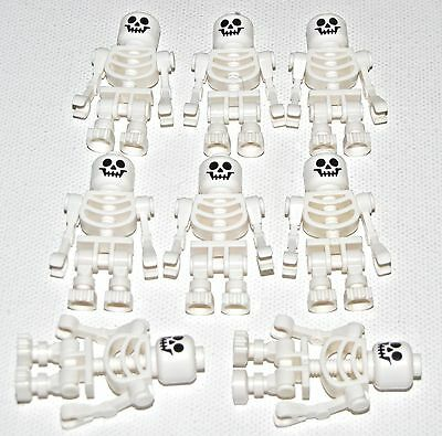 Lego Lot Of 8 New White Skeletons Castle Pirate Minifigures Figs