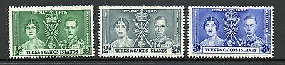 Turks & Caicos Islands 1937 Coronation lightly mounted mint set stamps