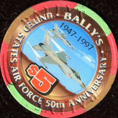 $5 Las Vegas Bally's US Air Force 50th Anniversary Fighter Jets Casino Chip