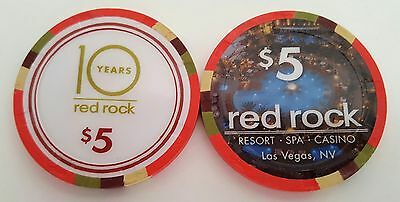 $5 Las Vegas Red Rock 10 Years Casino Chip - Uncirculated