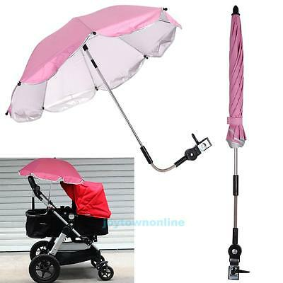 Adjustable UV Protection Umbrella Sunshade For Baby Infant Strollers Pushchair