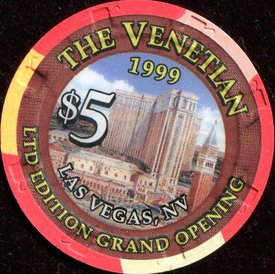 $5 Las Vegas Venetian 1999 Grand Opening Casino Chip - UNCIRCULATED