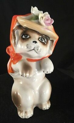 Vtg Ceramic Dog with Hat and roses Possibly from Japan unusual