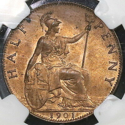 1901 NGC MS 63 Victoria 1/2 Penny Victoria GREAT BRITAIN Coin (16110808C)