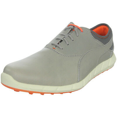Puma Ignite Mens Leather Spikeless Golf Shoes - Drizzle Gray / Vibrant Orange