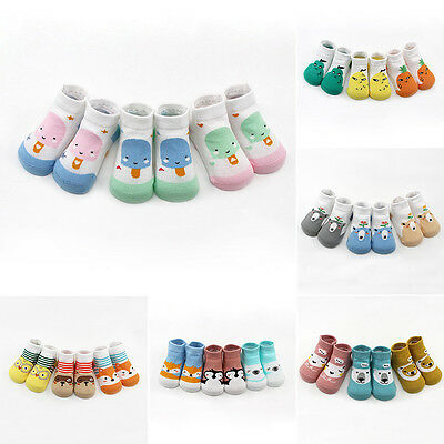 Newborn Infant Baby Unisex Kids Cute Cotton 3 Pairs Socks Set Fit 0-3 Y