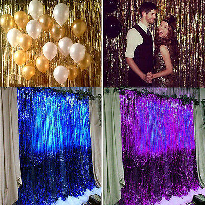 1M Metallic Fringe Curtain Party Foil Tinsel Home Wedding Room Decor Door Decor