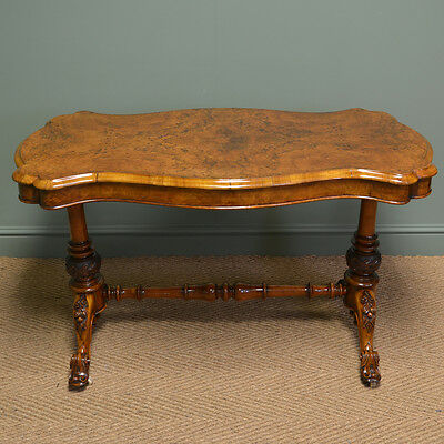 Spectacular Victorian Quality Figured Burr Golden Walnut Antique Centre Table