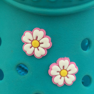 2 Pretty Pink Flower Shoe Charms For Crocs and Jibbitz Wristbands. Free UK P&P.