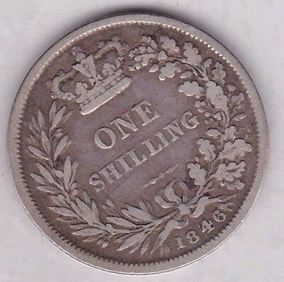 1846 Victorian Young Head Shilling In Fine Or Better Condition