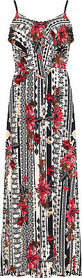 Plus Womens Floral Print Strappy Frill Maxi Dress Ladies Layered Long Full New